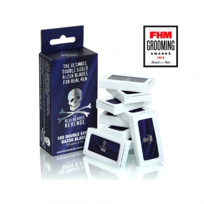 THE BLUEBEARDS REVENGE DOUBLE-EDGE RAZOR BLADES PACK OF 100 (10 PACKS OF 10)