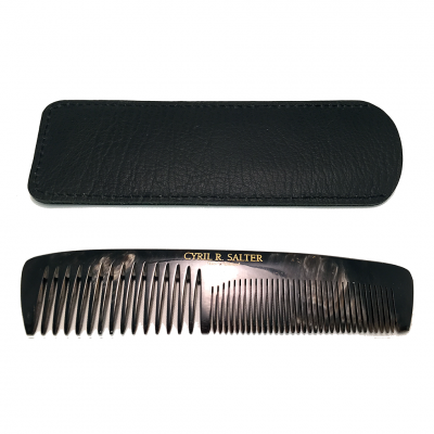 Cyril R. Salter Genuine Horn Double Tooth Comb with Leather Pouch (13cm)